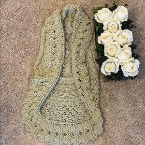 Exotic khaki colored knit vest